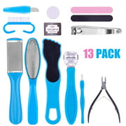 Juslike Pedicure Kit, 13Pcs Stainless Steel Nail Clippers Set, Professional Manicure Pedicure Set Nail Kit for Women Men Salon or Home