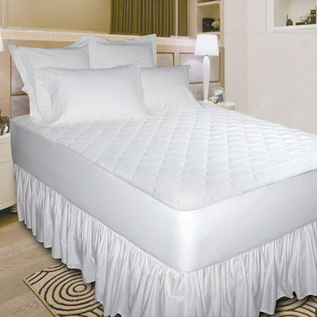 Newpoint Quiet Waterproof Cotton Mattress Pad, White (Waterproof Twin Mattress Pad)