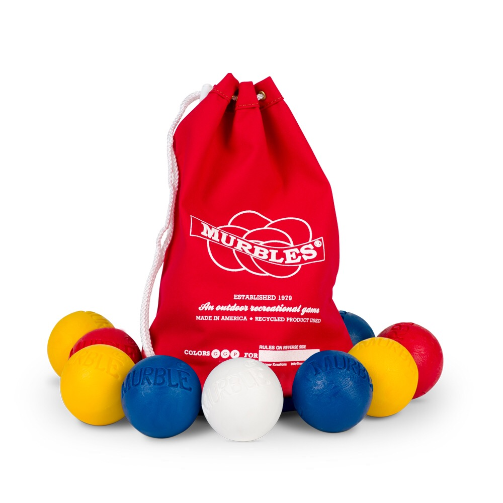 The Murbles Outdoor Game 3 Player Set, 10 Balls Included - Red, White, Blue, Yellow