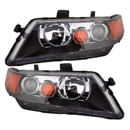 BROCK HID Headlights Headlamps w/ Black Housing Pair Set Replacements for 04-05 Acura TSX 33151SECA12 33101SECA12