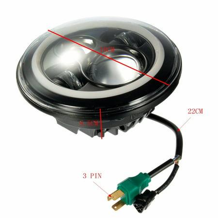 7 Inch Round Hi-Lo Beam Headlights Halo Angle Eyes For Jeep 97-15 For Wrangler JK/TJ/LJ - image 1 de 8