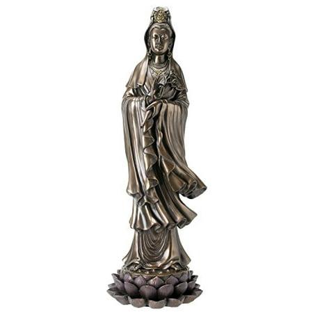 Seated Kuan Yin Statue - Kuan Yin Buddhist Bodhisattva of Compassion Guan Yin Standing on Lotus Statue