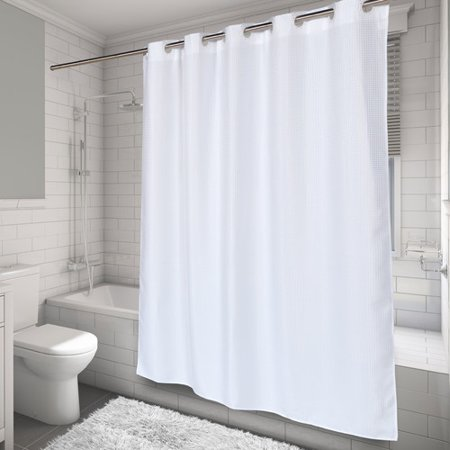 EZ-ON® Waffle Weave Polyester Shower Curtain in White - Walmart.com