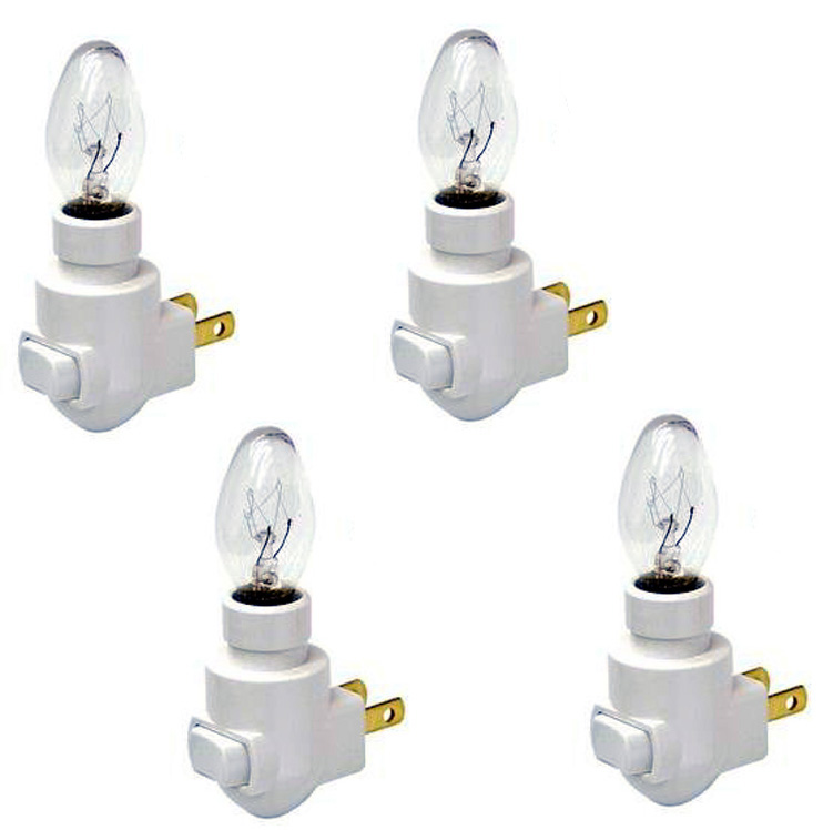 Plug In Night Light Module Includes 4 Watt Bulb, White Plastic, Great for Making Your Own Decorative Night Lights, Pack of 4