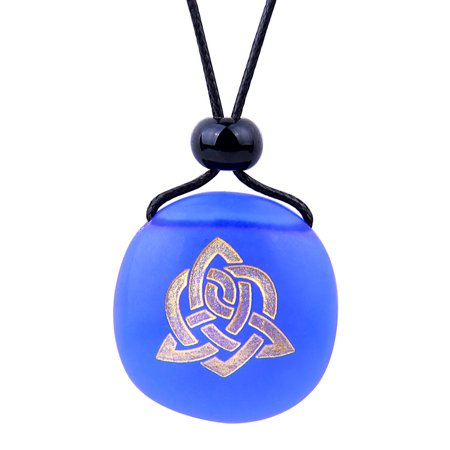 Amulet Frosted Sea Glass Stone Magic Celtic Triquetra Knot Good Luck Power Royal Blue Adjustable Necklace