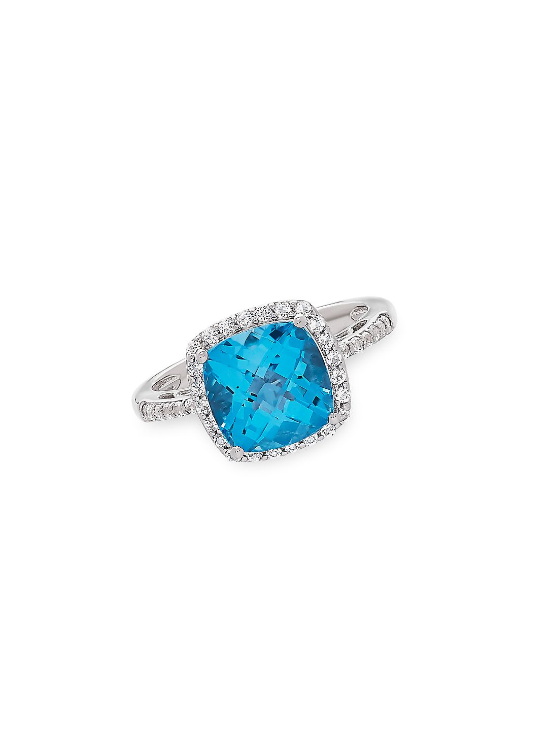 Sterling Silver, Swiss Blue Topaz & White Topaz Solitaire Ring