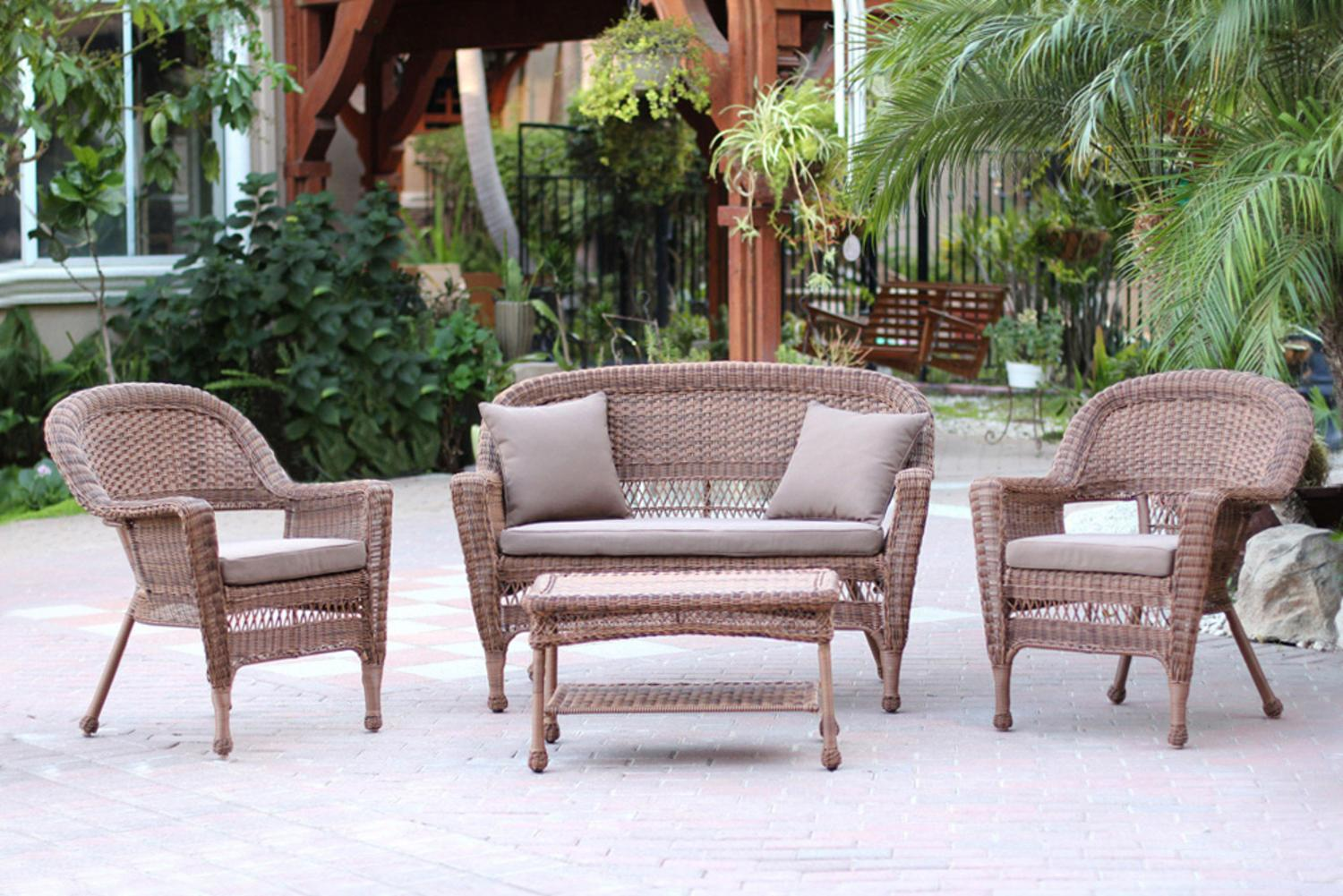 4-Piece Honey Wicker Patio Chairs, Loveseat & Table Furniture Set Brown Cushions by CC Outdoor Living