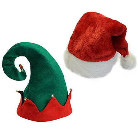 Cp Christmas Youth Kids Hats- Felt Elf Hat & Red Santa Hat Set of 2 One-size Fits Most Children - Paper Elf Hat