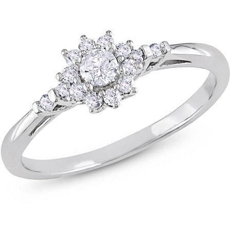 1/4 Carat T.W. Diamond Flower-Halo Engagement Ring in 10k White Gold