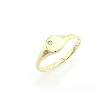 14k Yellow Gold Diamond Accent Signet Ring