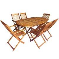Awaymmer Outdoor Folding Dining Set 7 Pieces Solid Eucalyptus Wood