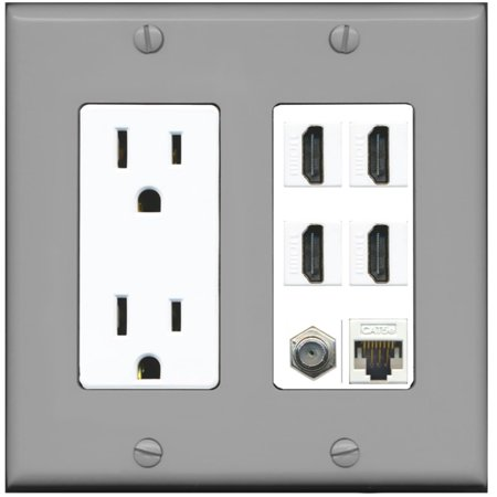 - RiteAV 15A Power Outlet, 4 HDMI, 1 Cat5e Ethernet, 1 Coax Cable TV Wall Plate - Gray/White