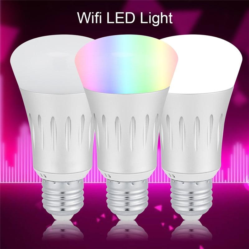 7W E27 / B22 Smart WiFi LED Bulb,Wireless Remote Control Dimmable RGBW Smart LED Bulb Lamp Light