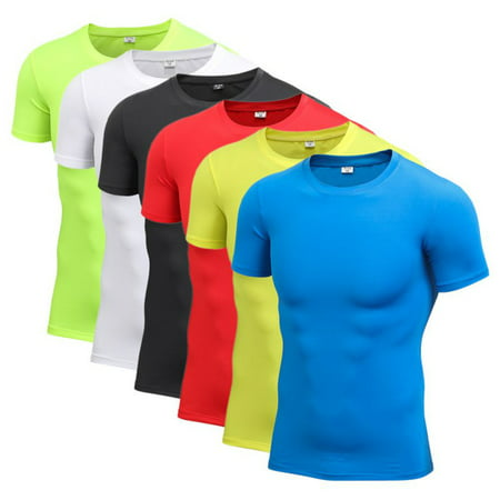 EFINNY Men Sport Compression Round Collar T-shirt Gym Shirt Short Sleeved Tops Tight ASIAN Size