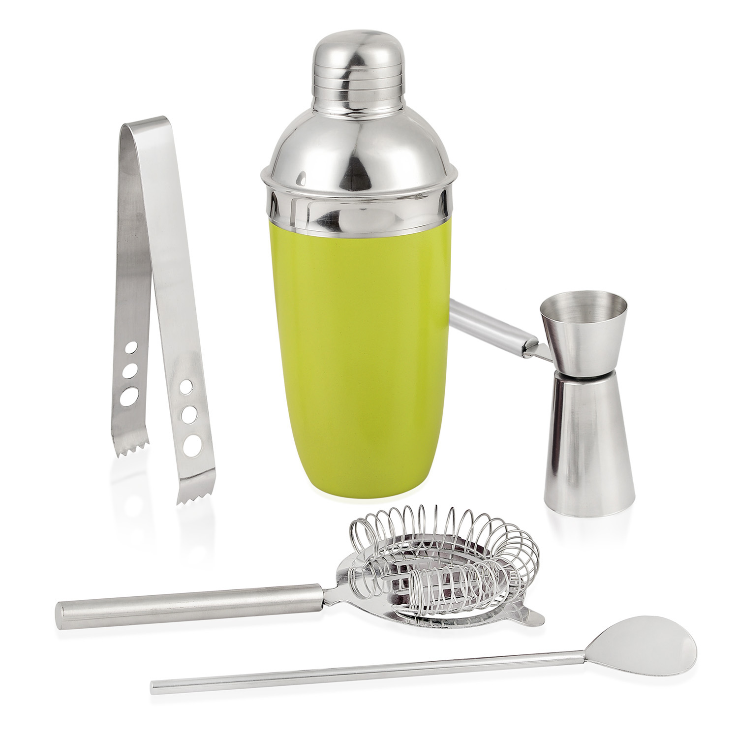 Blue Stainless Steel Bar Set Cocktail Shaker Strainer Top Jigger Bar Spoon Ice Tongs