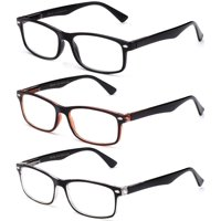 Newbee Fashion Unisex Spring Temple +1.00 Reading Glasses, 3 Pack