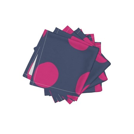 Cocktail Napkins Polka Dots Navy Fuscia Pink Large Scale Bright Mod Set of -