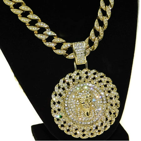 Huge Jesus Piece Chain Medallion Cuban Pendant Gold Finish Iced-Out Bling 30