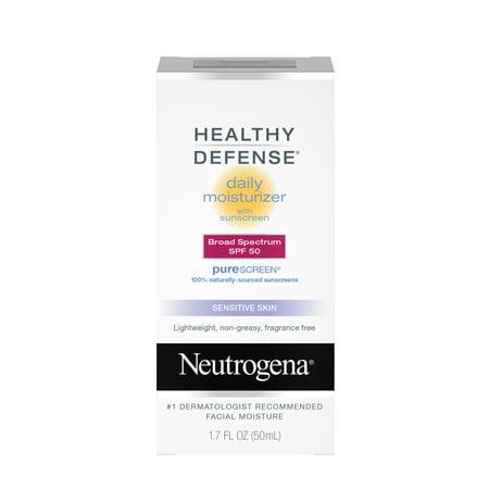 Neutrogena Healthy Defense Facial Sunscreen Zinc Oxide, Sun Protection, SPF 50, 1.7 fl oz