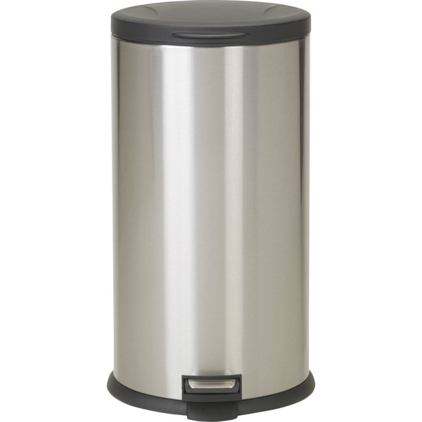 Better Homes Gardens 7 9 Gal 30l Stainless Steel Oval Step On Garbage Can With Lid Walmart Com Walmart Com