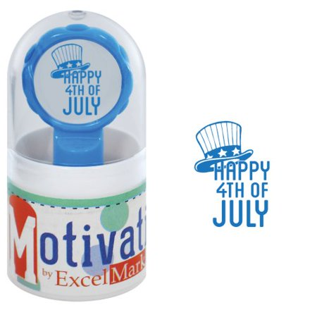 Motivations Pre-inked Teacher Stamp - Happy 4th Of July (Uncle Sam Hat) - Blue