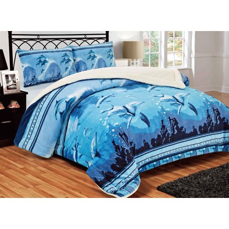 3 Dolphin Collection (All American Collection New Super Soft and Warm 3 Piece Blue Dolphin Design Borrego/Sherpa Blanket Palazzo)