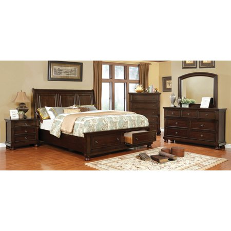 Transitional Bedroom Furniture 4pc Set Brown Cherry Eastern King ...