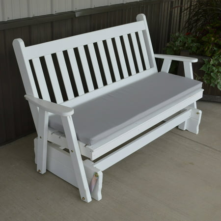 A & L Furniture Yellow Pine Traditional English Outdoor Bench Glider ()