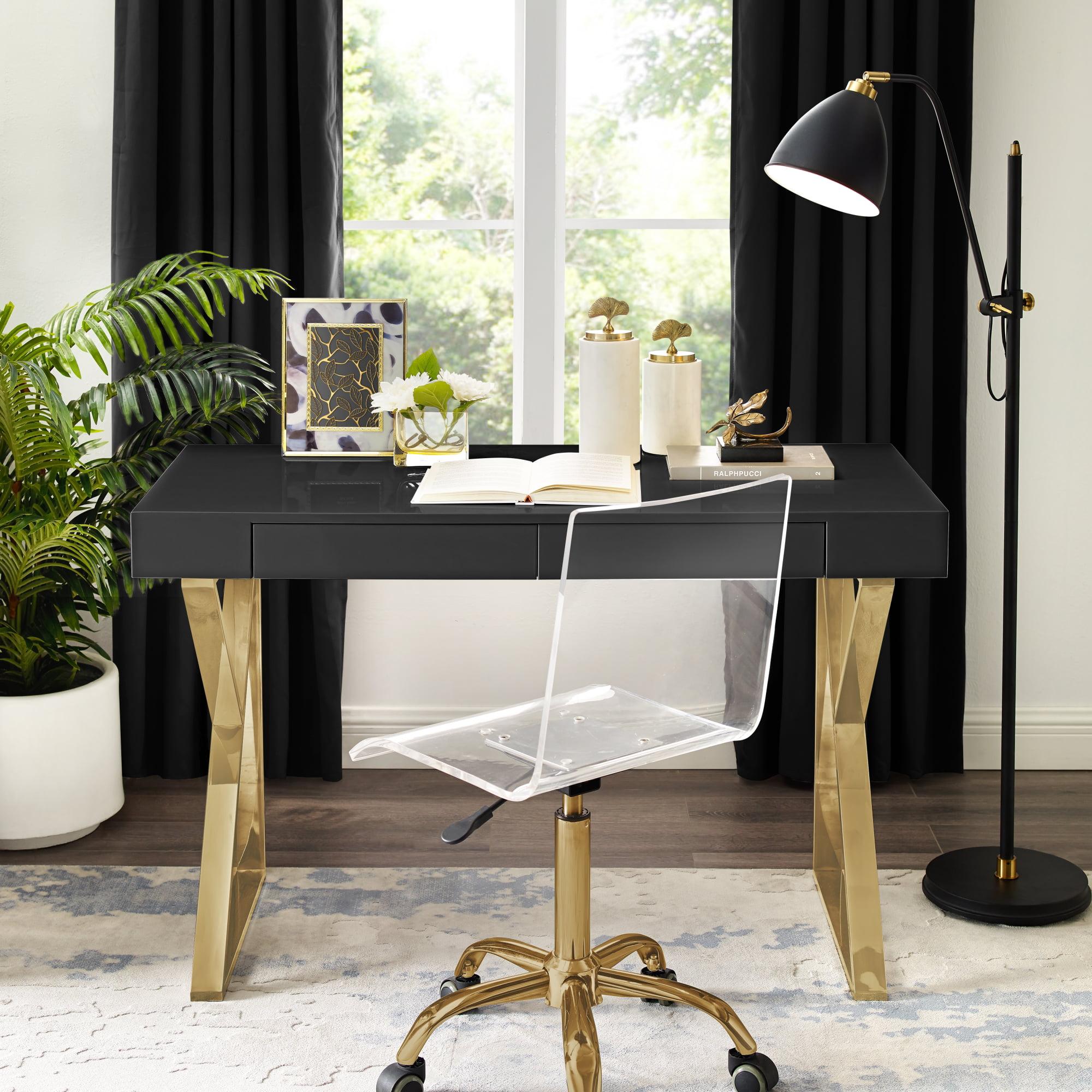 Image of: Inspired Home Baduchi Desk 2 Drawers High Gloss Stainless Steel Base Modern Design Black Gold Walmart Com Walmart Com