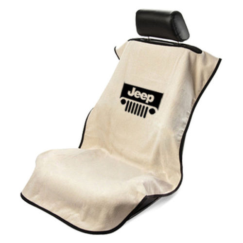 Seat Armour - TAN Seat Protector Towel Cover With Jeep Grille Logo SA100JEPGT