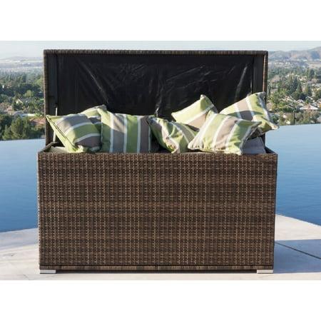 Anita Outdoor Patio Storage Box Garden Bench Cushion Steel PE Rattan Deck Box-Brown ()