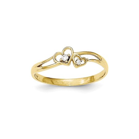 Solid 10k Yellow Gold CZ Cubic Zirconia Double Heart Ring - Size 4 10k Double Heart Ring