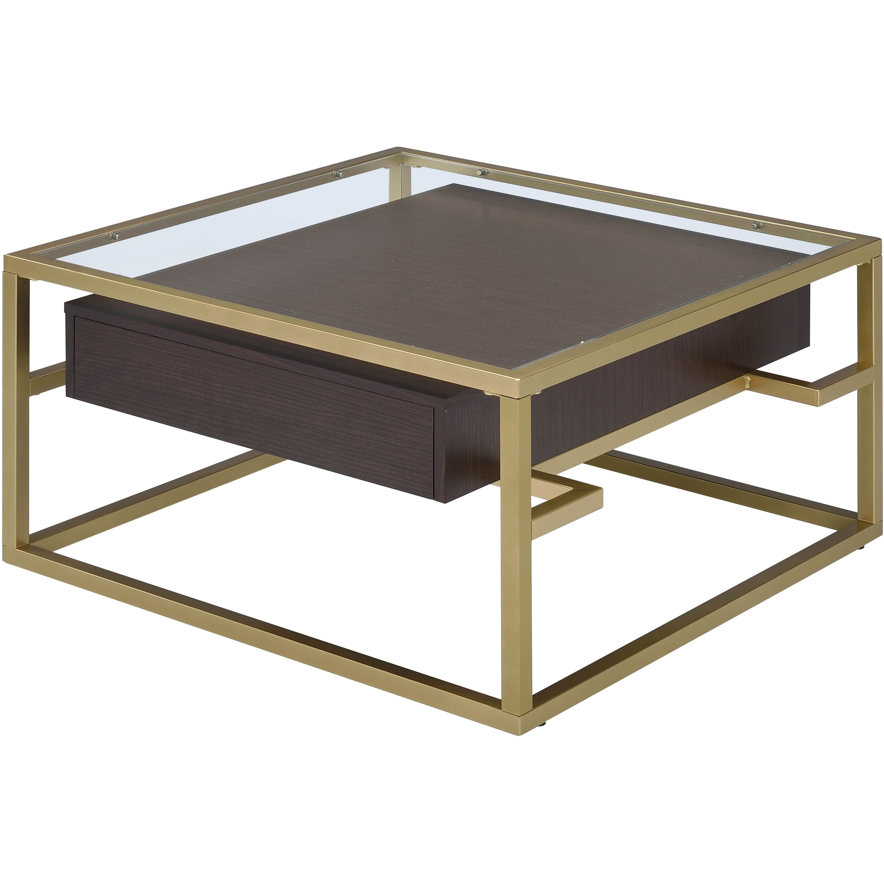 ACME Yumia Coffee Table, Gold & Clear Glass