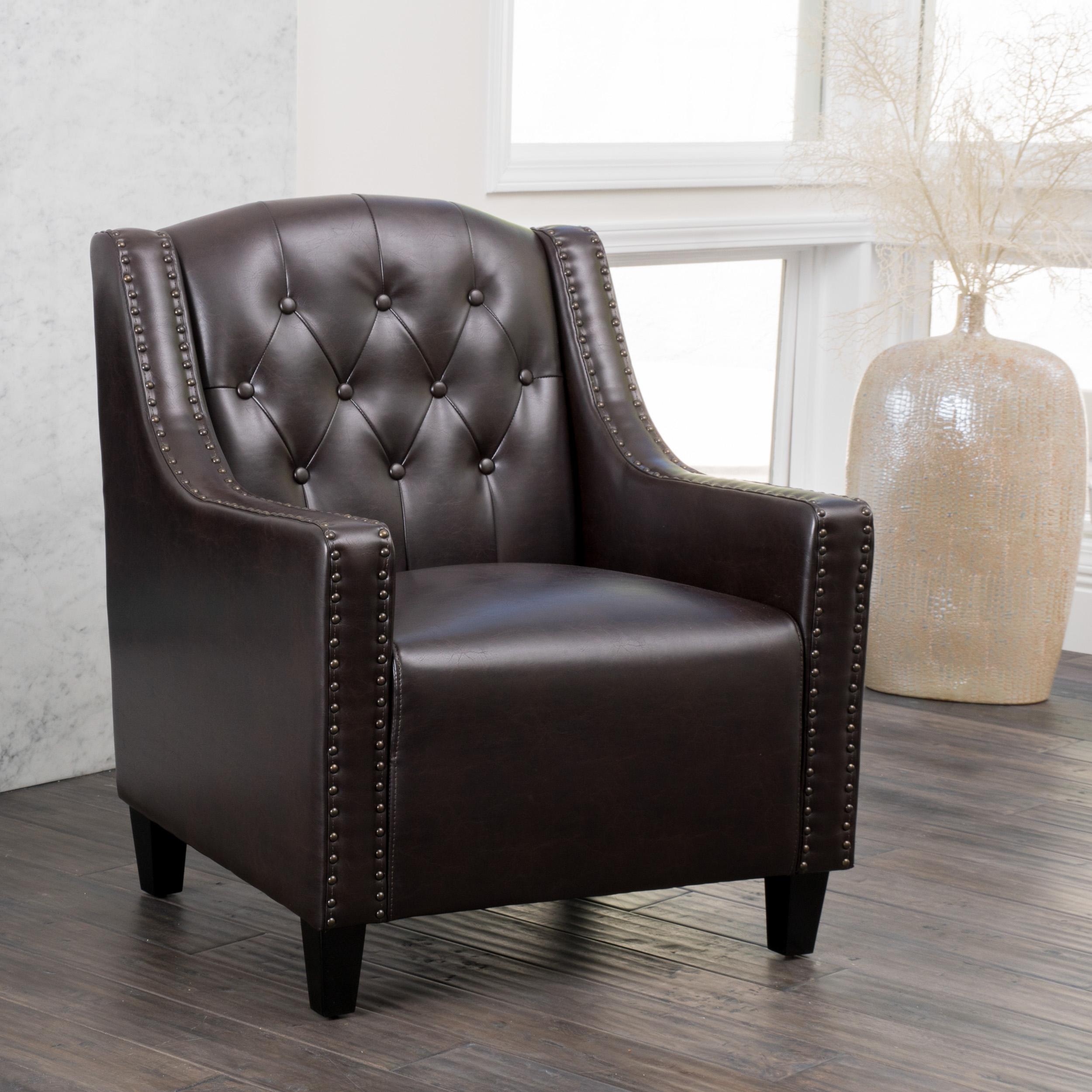 Noble House Gabby Modern Contemporary Tufted Bonded Leather Club Accent Chair, Brown