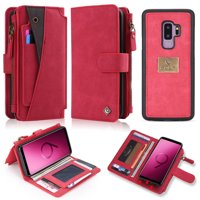 Galaxy S8+ Plus Case, Allytech PU Leather Folio Detachable Wallet Case Build in Metal Plate for Car Mount Cards Slots Money Holder Wallet w/ Zipper Case Cover for Samsung Galaxy S8 Plus, Red