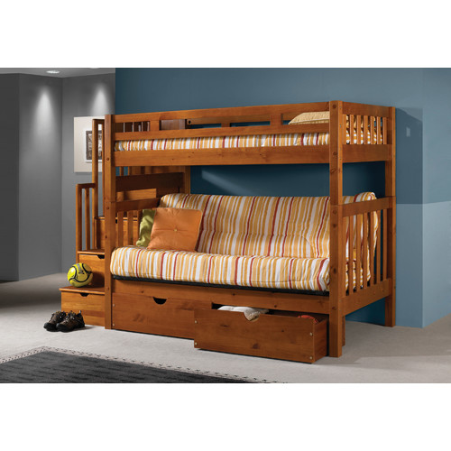 Harriet Bee Langley Stairway Loft Bunk Bed with Storage Drawers