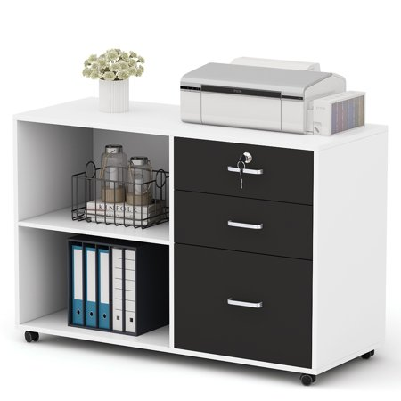 Office Lateral Wood - Tribesigns 3 Drawer Wood File Cabinets, Large Modern Lateral Mobile Filing Cabinets Printer Stand with Wheels, Open Storage Shelves for Home Office (White)
