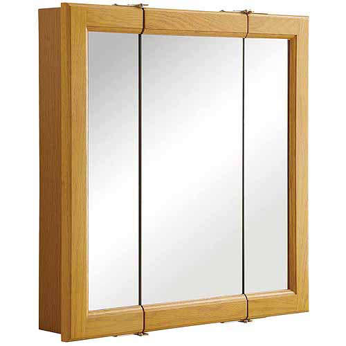 Design House 545277 Claremont Honey Oak Tri-View Medicine Cabinet Mirror with 3 Doors by Generic