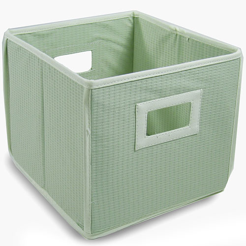 Badger Basket - Waffle Fabric Folding Bin, Sage