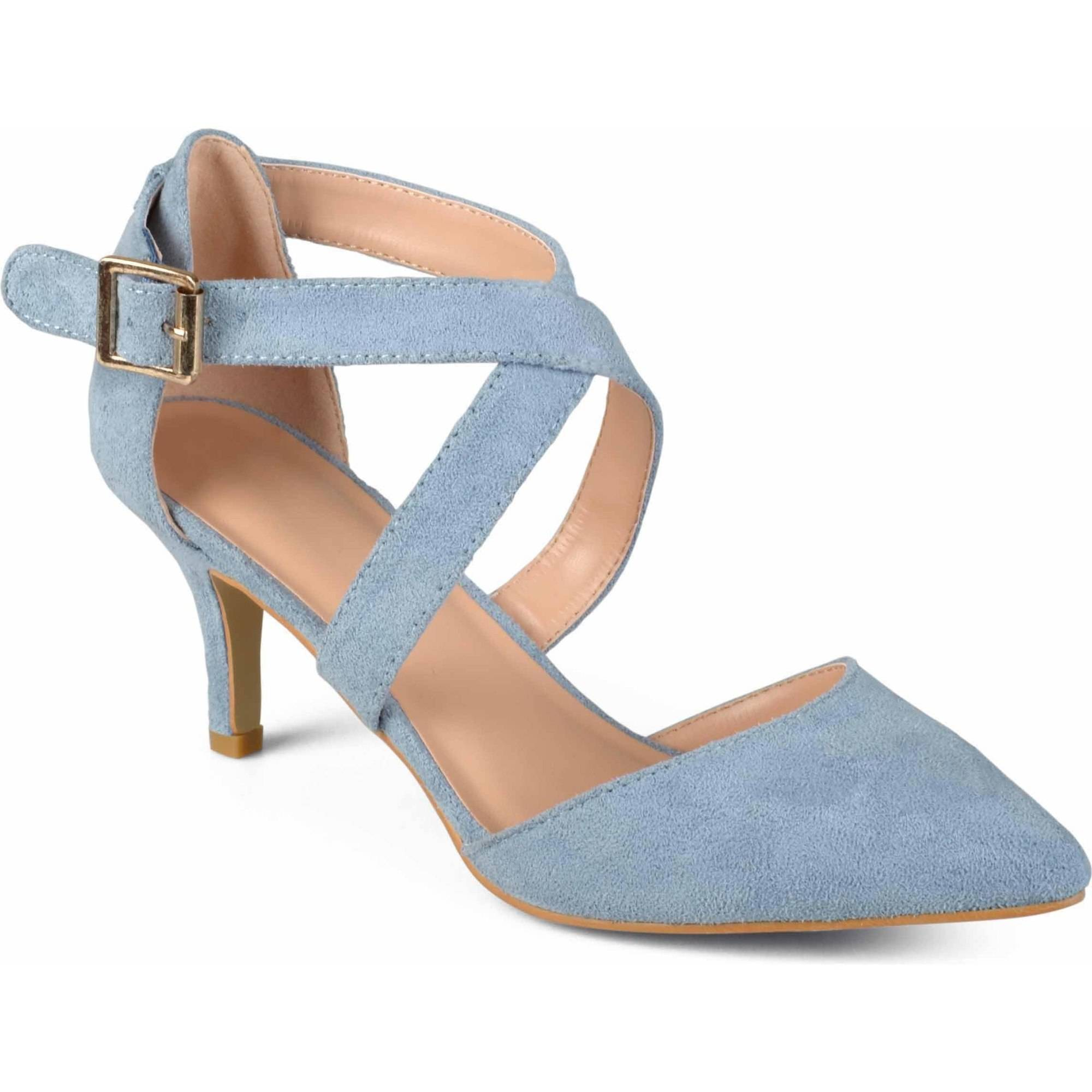 Brinley Co. Womens Cross Strap Faux Suede Pointed Toe Dress High Heels