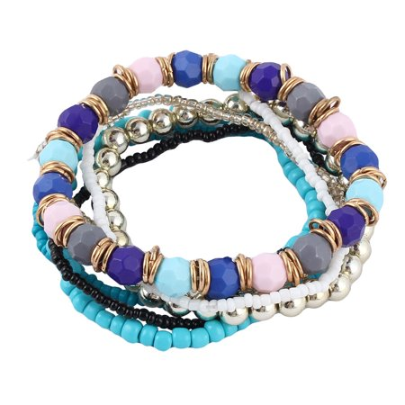Women Plastic Multilayer Design Stretchy Beads Beach Bracelet Bangle Decor Blue](Blue Bead Bracelet)