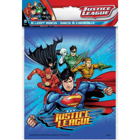 Santas Goodie Box - (3 Pack) Plastic Justice League Goodie Bags, 9 x 7 in, 8ct
