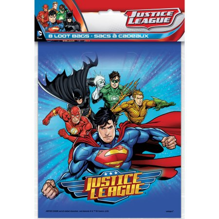 (3 Pack) Plastic Justice League Goodie Bags, 9 x 7 in, 8ct
