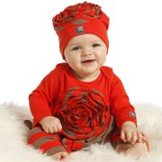 KidCuteTure Little Girls Geranium Red Flower Amaya Tunic Leggings Outfit 2T