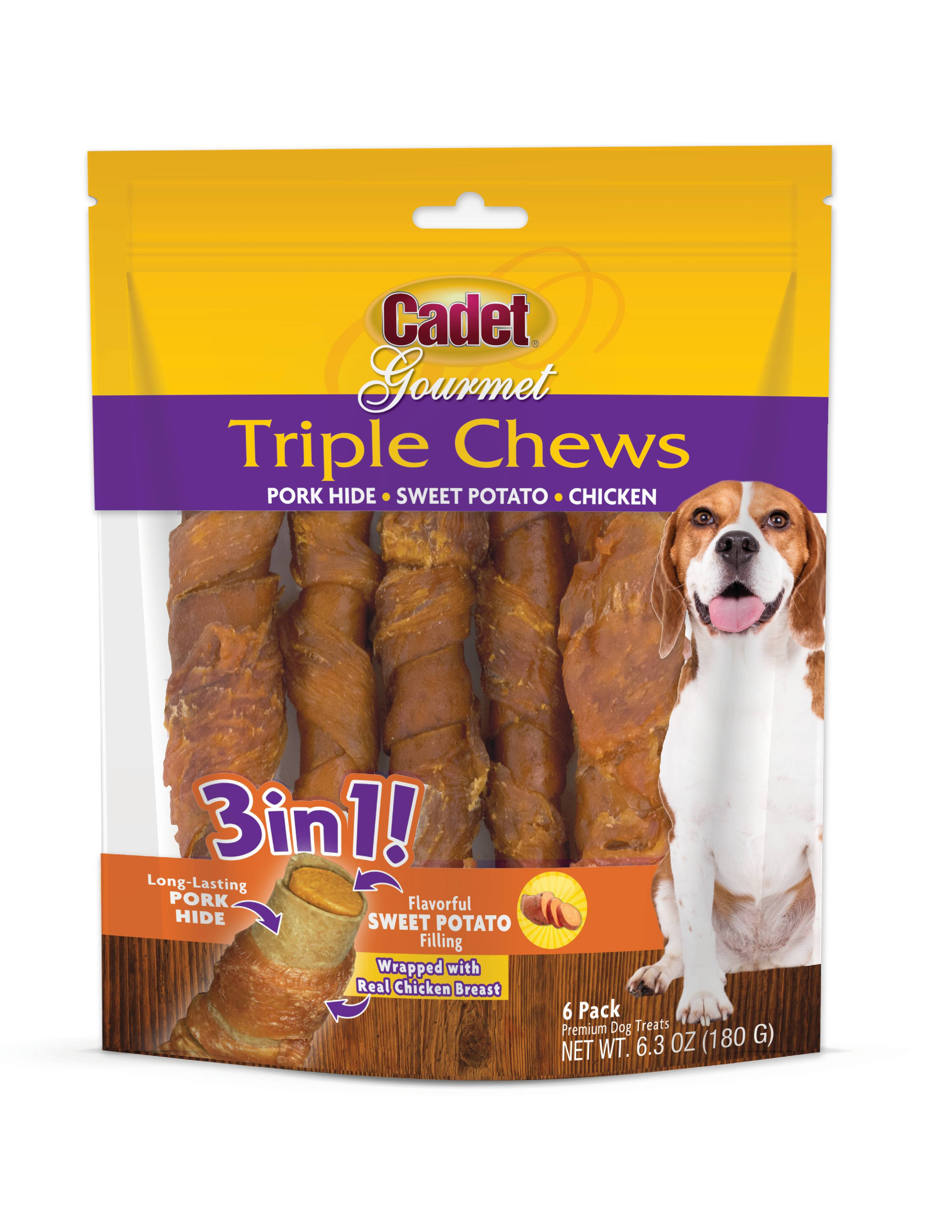 Cadet Gourmet Triple Chews Dog Treat Pork-hide Wrapped in Chicken Stuffed with Sweet Potato, 6 Count by IMS TRADING CORPORATION