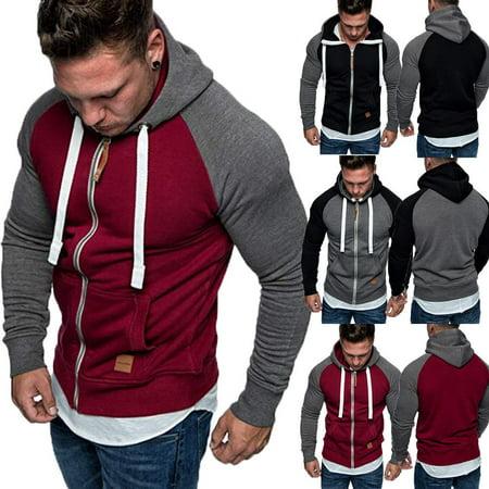 New Plain Mens Hoodie Fleece Zip Up Hoody Jacket Sweatshirt Hooded Zipper Top
