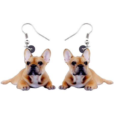 Laying French Bulldog Puppy Dog Acrylic Print Dangle Hook Earrings Ginger Lyne Collection