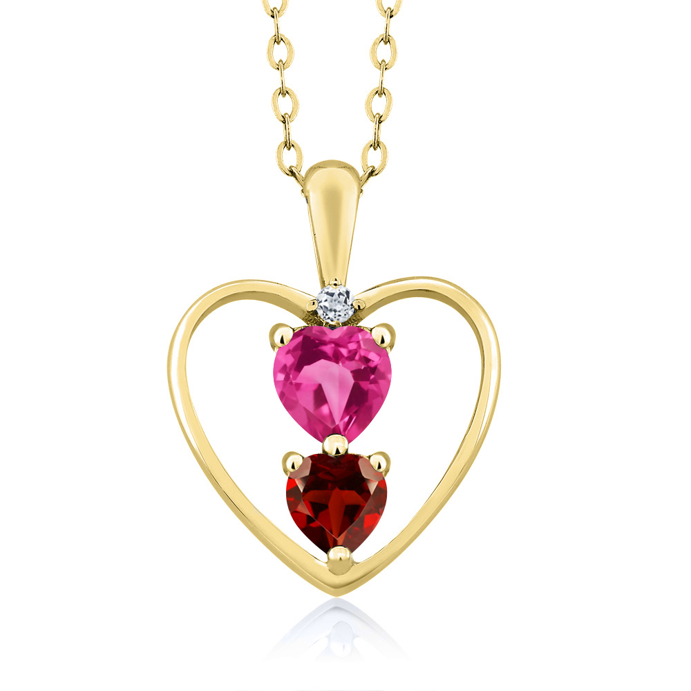 0.86 Ct Heart Shape Pink Mystic Topaz Red Garnet 14K Yellow Gold Pendant by