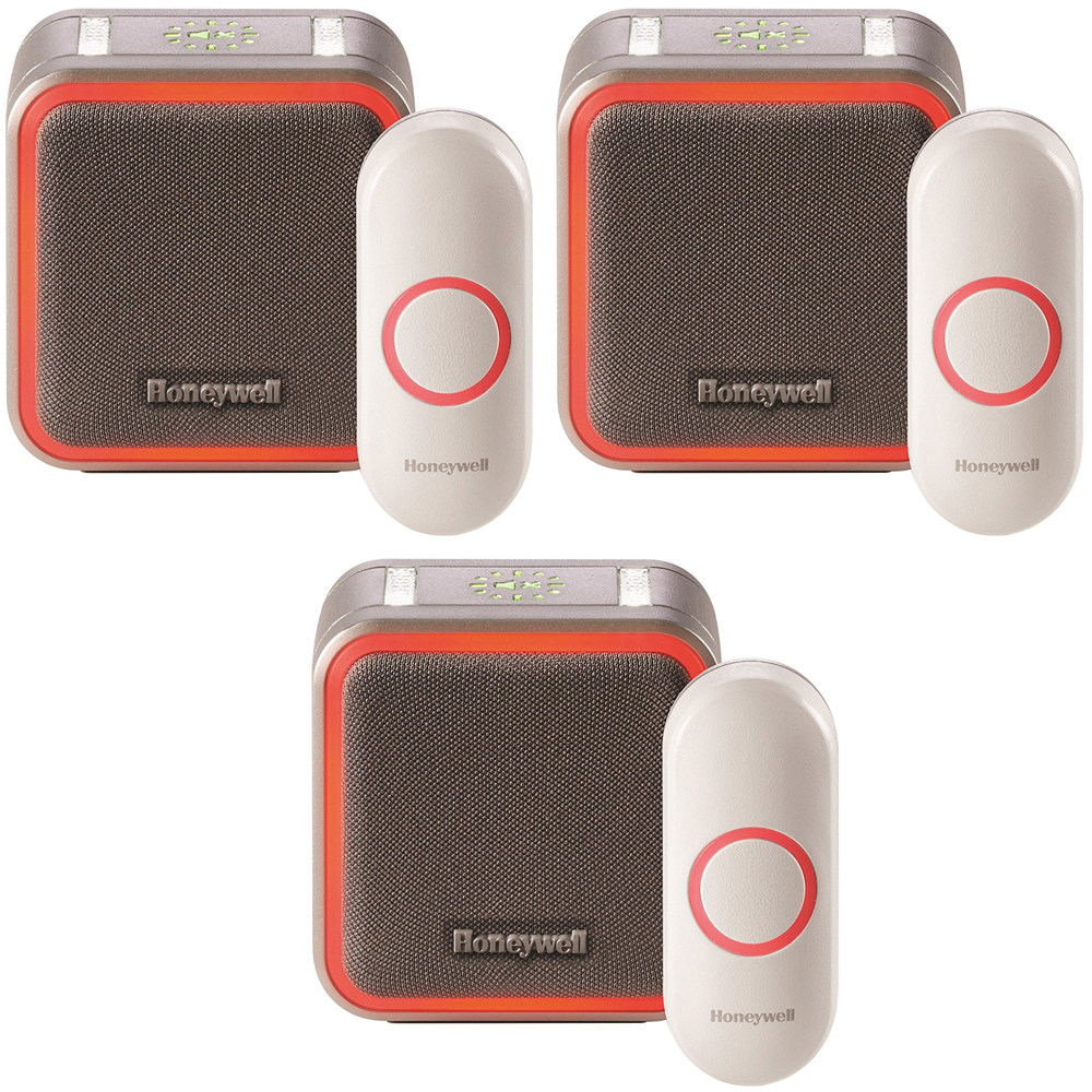 Honeywell Portable Wireless Doorbell with Halo Light and Push Button 3 Pack (RDWL515A2000/E)