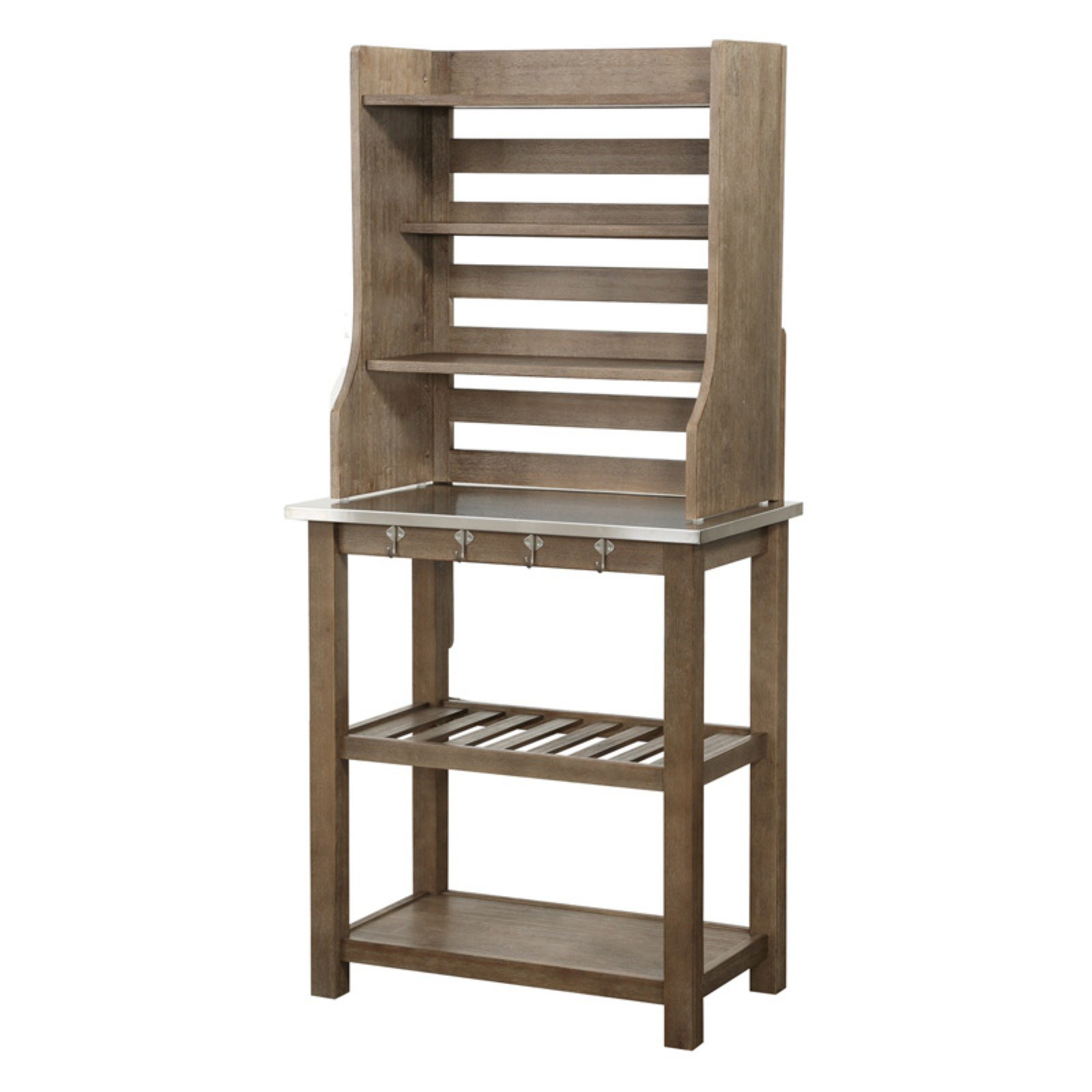 Boraam Wood Bakers Rack With Stainless Steel Top
